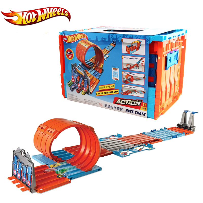 Hot Wheels Multi Track Racing Kids Toys 3 In 1 Play Ways Car Track Big Size Hotwheels Toy For Children Birthday Gift GKT87