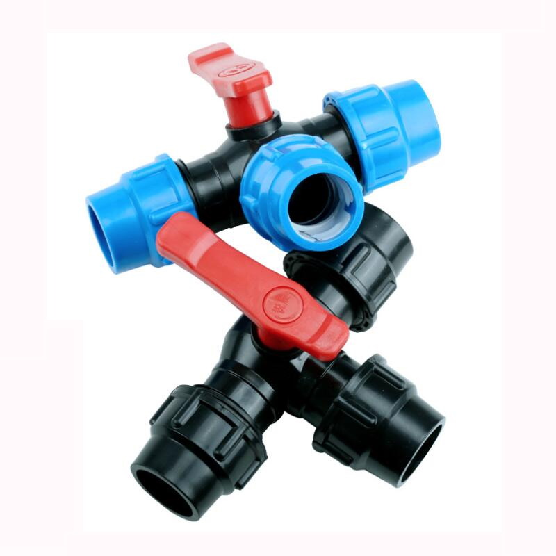 32mm Plastic Core Ball Valve T Type 3 Ways Blue Black Caps Adapter PE Pipe Fittings Quick Connector For Irrigation