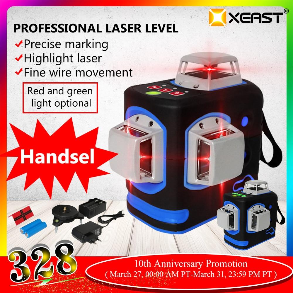XEAST XE-68R Pro 3D Laser Ebenen 12 Linien Kreuz Ebene Selbst Nivellierung Outdoor 360 Rotary Red Laser mit Magnetische leiter halterung