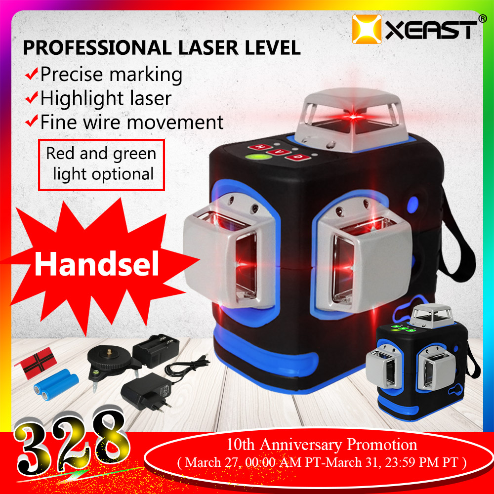 XEAST XE-68R Pro <font><b>3D</b></font> <font><b>Laser</b></font> <font><b>Levels</b></font> <font><b>12</b></font> <font><b>Lines</b></font> Cross <font><b>Level</b></font> Self Leveling Outdoor 360 Rotary Red <font><b>Laser</b></font> with Magnetic ladder bracket image