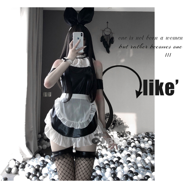 OJBK New 2020 Bunny Gril Pu Leather Sexy Cosplay Costumes Erotic Lingerie for Women Maid Outfit Black Kawaii Babby Doll Clothes