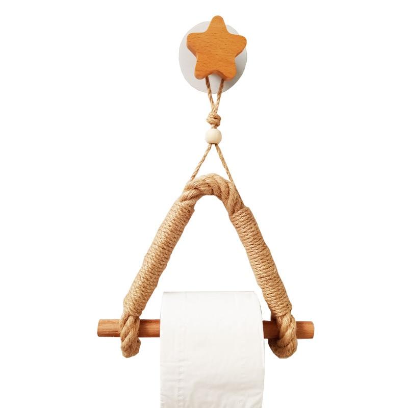 1 шт. Без перфорации деревянный конопля веревка туалет рулон бумага вешалка ванная комната кухня вешалка полотенце хранение держатель