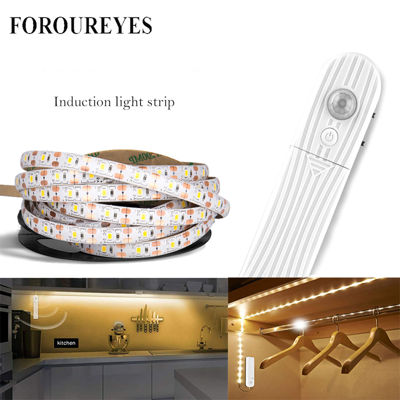Led Light Strip PIR Motion Sensor Induction Led Strip Battery 60leds/m 2835smd Under Bed Lamp For Closet Wardrobe Cabinet Stairs