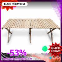Camping mesa de madera plegable-portátil plegable mesa de pícnic al aire libre, rollo de pastel mesa de madera en una bolsa para Picnic, Campamento, viajes, Gar