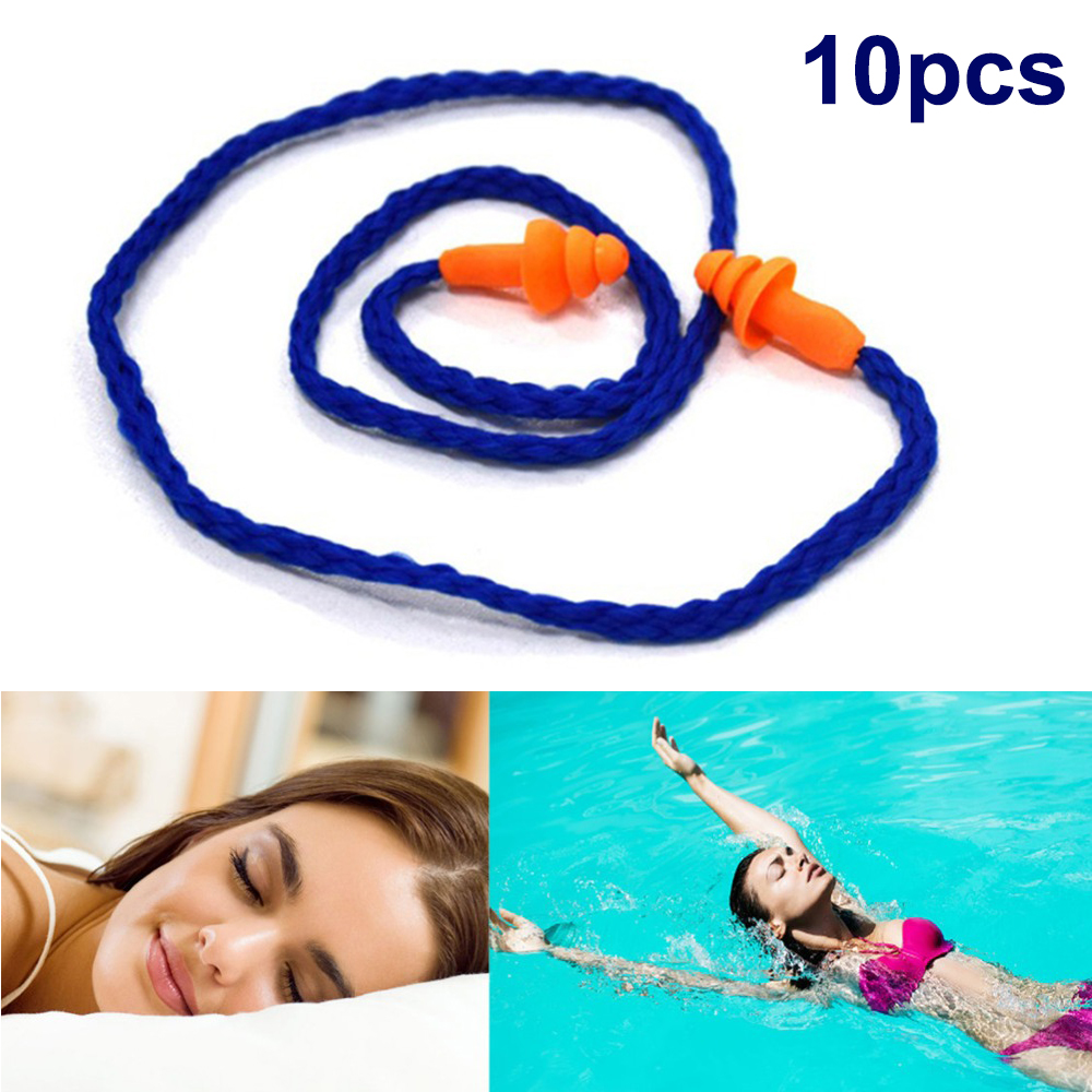 5Pcs Soft Silicone Corded Ear Plugs Reusable Hearing Protection Earplugs New