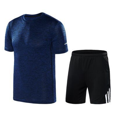 Summer New Style Men Crew Neck Stripes Quick-Dry Short Sleeve T-shirt Shorts Large Size Leisure Sports Suit