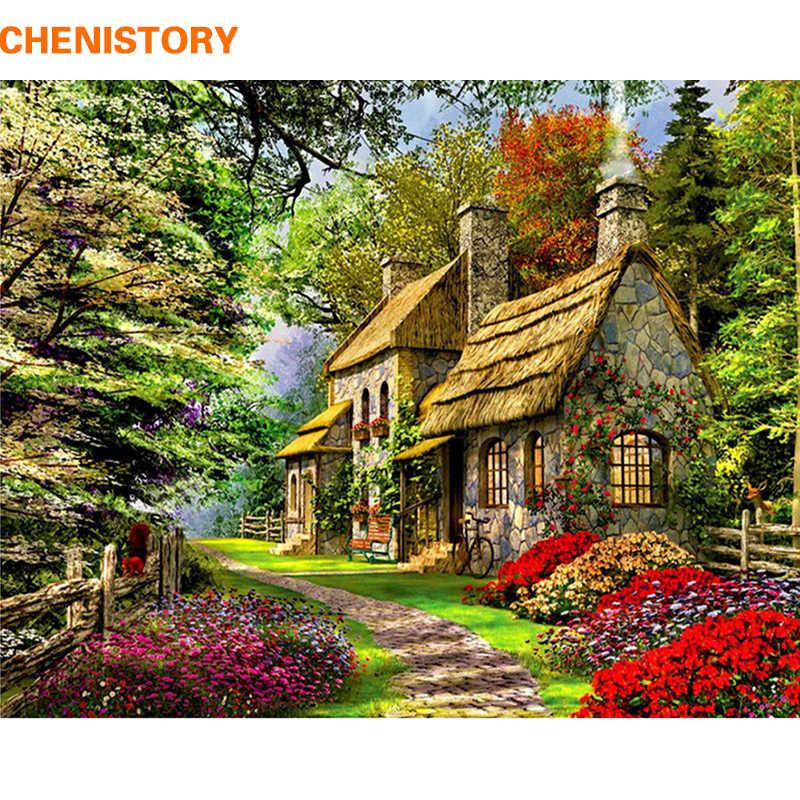 CHENISTORY безрамный Сельский пейзаж DIY живопись по номерам Акриловая ручная роспись картина маслом для домашнего декора 40x50 см художественное оформление