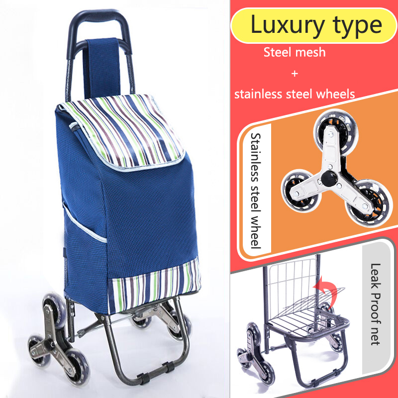 Поднимайтесь вверх, тележка для покупок, большие товары, товары, чехол на колесиках, складная тележка для прицепа, бытовая Портативная сумка для покупок, женская сумка - Цвет: High version 5