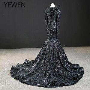 Image 2 - ดูไบสีดำ O Neck เสื้อแขนยาวชุดราตรี 2020 Mermaid Sequined ประดับด้วยลูกปัดหรูหราอย่างเป็นทางการ YEWEN 67116