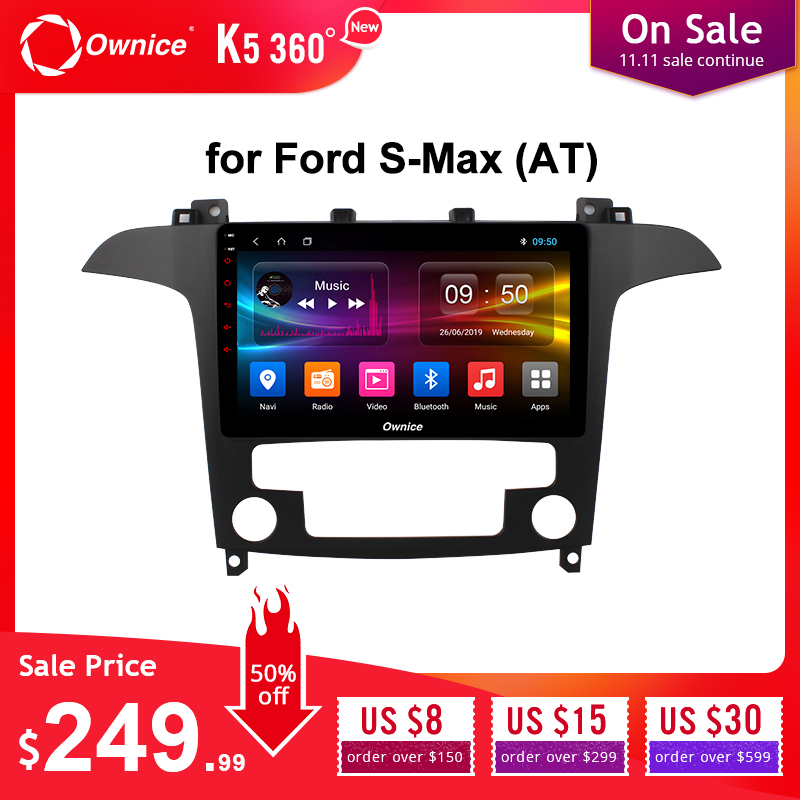 Ownice Android 9.0 DSP 4G LTE SPDIF k3 k5 k6 Car Radio for Ford S-Max 2007 2008 Octa Core Car DVD GPS Navi Player 360 Panorama