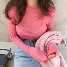 T-Shirt Women Slim-Fit Long-Sleeve Female Tops Spring Sexy Solid Tee Skinny Micro-Through-South-Korea