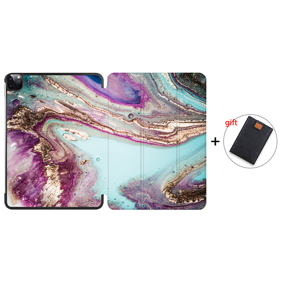 IP12 Gold MTT 2020 Marble Tablet Case For iPad Pro 11 inch A2228 A2231 PU Leather Magnetic Fold