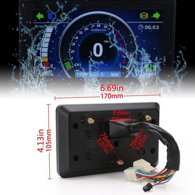 1,2,4 오토바이 실린더 LCD 디스플레이 클러스터 교체 속도계 다기능 악기 방수 범용 오토바이