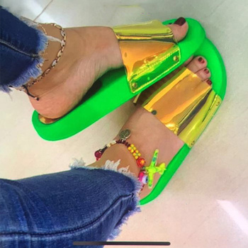 Summer Woman Slippers Candy Color Jelly Shoe Woman Bling Transparent Slides Sequined Flat Flip Flops Women Beach outdoor Shoes 4