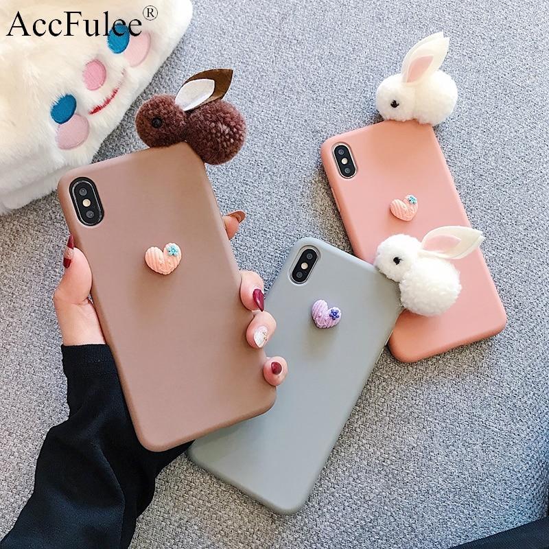 Cartoon Rabbit Fur Bunny Case For Motorola Moto G7 Power G6 Plus G5S G5 E4 E5 Play E6 Z3 Z4 P40 Cute Lovely Heart Soft TPU Cover