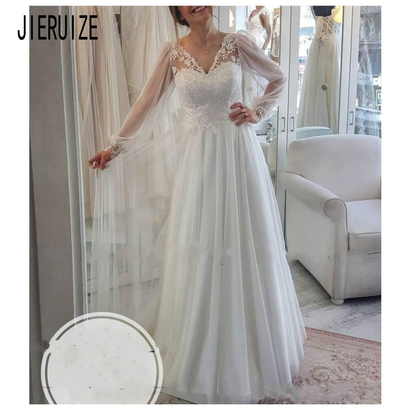 JIERUIZE Vintage Boho Wedding Dresses V Neck Sheer Long Sleeves Backless Lace Applique Bridal Gowns Bride Dresses Robe De Mariee