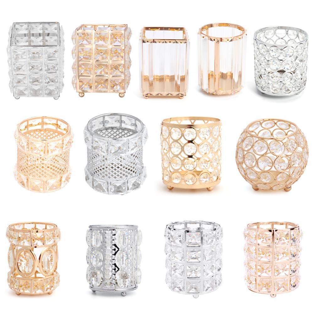 Organizador de Maquillaje de cristal, brocha de maquillaje de Metal, tubo de almacenamiento, lápiz de cejas, cuentas de maquillaje, caja de almacenamiento de joyas de cristal, envío directo 41x22,6 cm 5 agujeros anillo ranuras de cuerda gancho organizador de bufandas bufanda Wraps chal almacenamiento suspensión anillo gancho para corbatas cinturón Rack