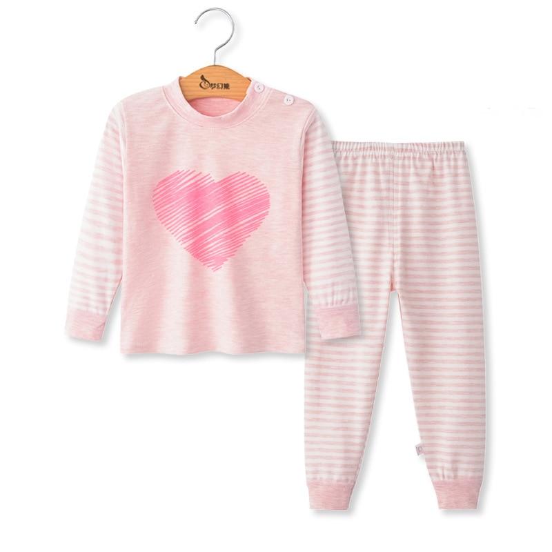 SAILEROAD Children Cartoon Animals Pajamas Set Baby Boys Cute Elephant Pyjamas Girls Love Heart Pijama Kids Home Wear Cotton PJS 8