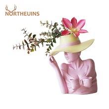NORTHEUINS Resin Creative Beauty Flower Vase Figurines White Nordic Human Head Flower Pot Bust Statue Table Decorative Sculpture