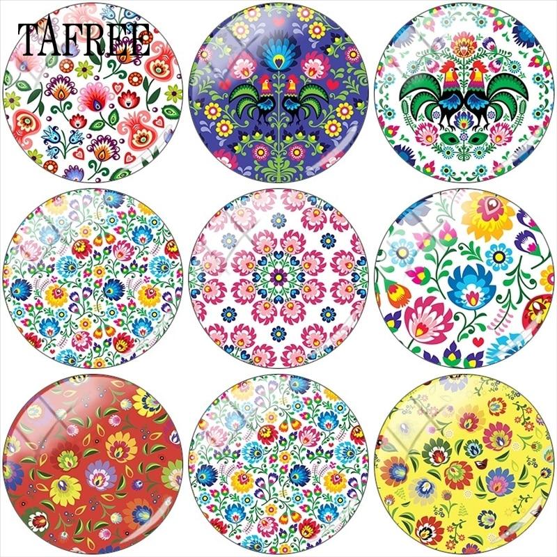 TAFREE 12mm/15mm/16mm/18mm/20mm/25mm Polish Folk Art Patterns  Glass Cabochon Demo  Flat Back Making Findings