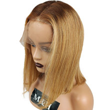 Wig Human-Hair Indian Lace-Front Straight for Women Raw Hair-Wig 130%Density 4-27-613