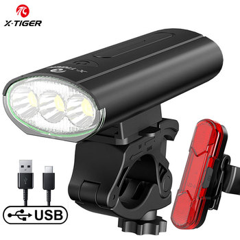 X-TIGER Bike Light Front Waterproof USB Rechargeable LED 4000mAh MTB Bicycle Light OUtdoor Cycling Headlight Safety Tail Light