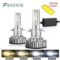PAUNDUK Mini Canbus H4 H7 LED Car Headlight ZES 4300K 6000K 8000K 12000LM 12V 24V H3 H1 9005 9006 HB4 H11 Auto Fog light Bulb