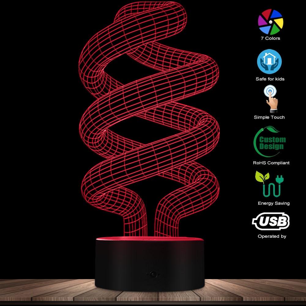 Energy Saving Novelty Lighting 3D Effect Optical Illusion Light Glowing Light Bulb Table Decor Lamp Fluorescent Light LED Lamp