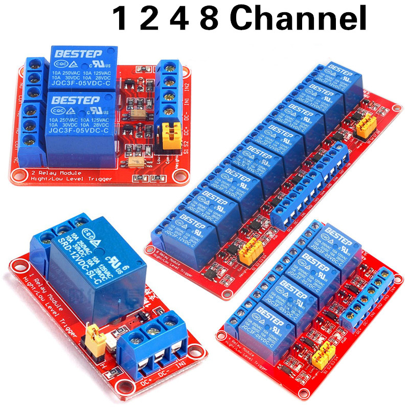 5V 1 2 4 8 Channel Relay Module High and low Level Trigger Dual Optocoupler Isolation 5V Relay Module
