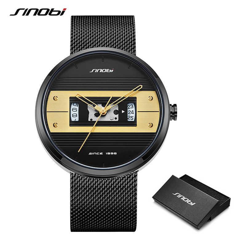Reloj de pulsera original Sinobi resistente al agua para hombre, reloj de acero inoxidable militar para hombre, relojes deportivos de lujo para hombre