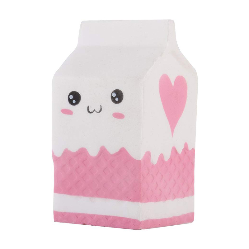Squishy Milk Box Slow Rising Cute Squeeze Relief Anti-stres Squishes PU Toys Kids Gift White & Pink Two Colors Decompression Toy
