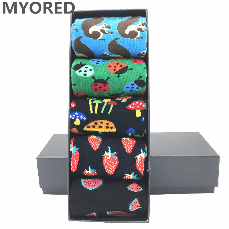 MYORED 5 Pairs Men Socks Combed Cotton Colorful Pattern Cartoon Squirrel Mushroom Watermelon Strawberry Ladybug Men's Funny Sock