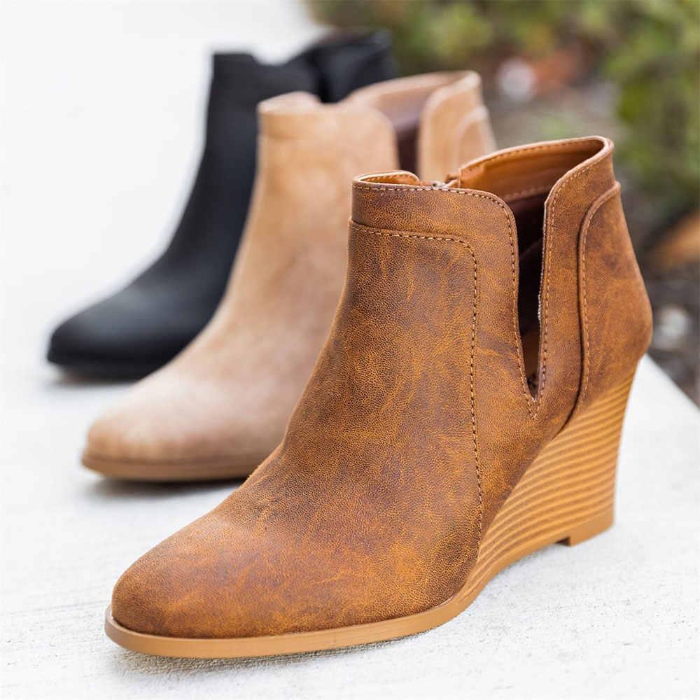 MoneRffi รองเท้าผู้หญิง Wedge รองเท้าส้นสูงรองเท้า Pointed Toe Booties เปิดด้านข้างซิปรองเท้าผู้หญิงรองเท้าสั้น Lady