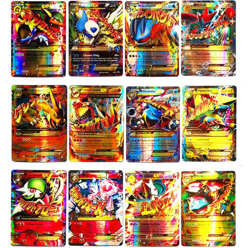 TAKARA TOMY Pokemon 100PCS GX EX MEGA Cover Flash Card 3D Version SWORD SHIELD Card Collectible Gift Kids Toy