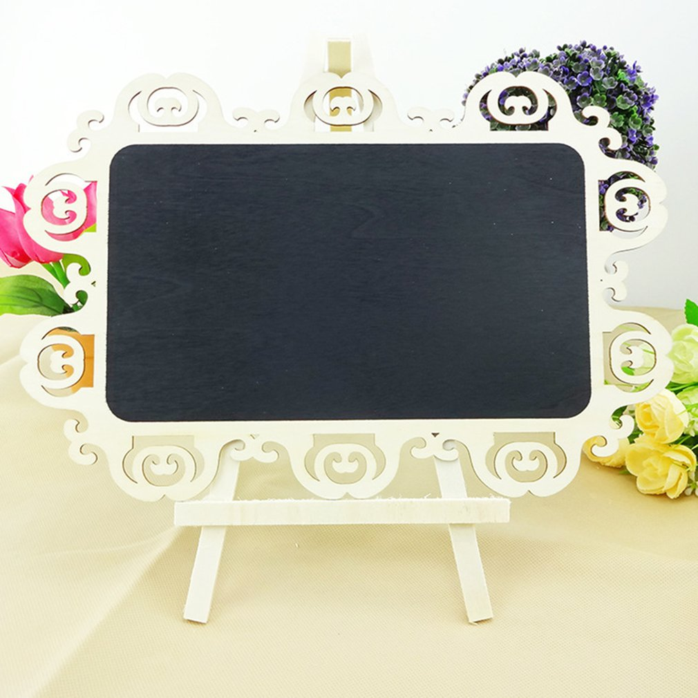 Wooden Blackboard Hollow Carving Creative Small Blackboard Writing Message Board Children'S Blackboard With Stand