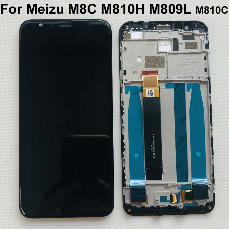 """Original Tested New For 5.45"""" Meizu M8C 8C M810H M809L LCD Display Screen With Frame+Touch Panel Digitizer For Meizu M8C DisplayMobile Phone LCD Screens   -"""