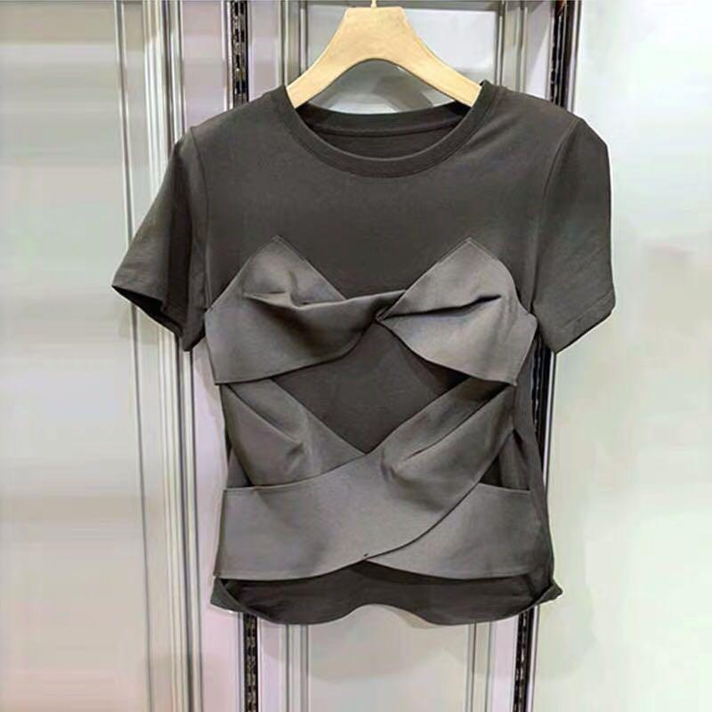 Black T-shirt Women 2020 Summer New Short Sleeve Round-Neck T-shirt Women's Loose-Fit Top Cross Bow Tee Ladies Tees Tshirt