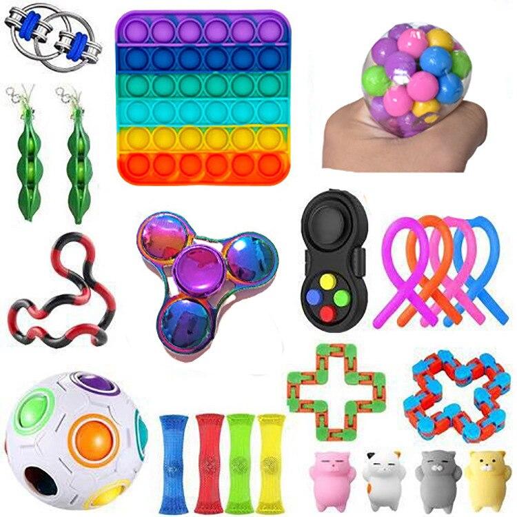 Fidget-Toys Gift-Pack Anti-Stress-Set Pop-It Stretchy-Strings Sensory Squishy Children img3