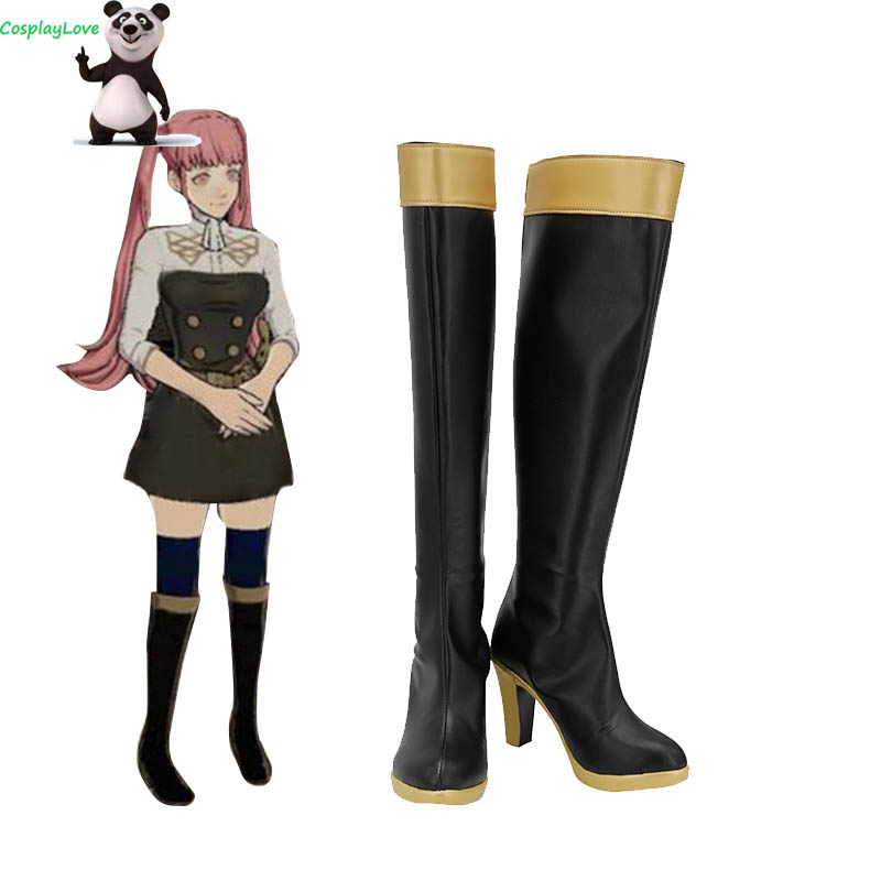 Fire Emblem: Three Houses Hilda Bernadetta Black Cosplay Shoes Long Boots Leather CosplayLove For Halloween Christmas