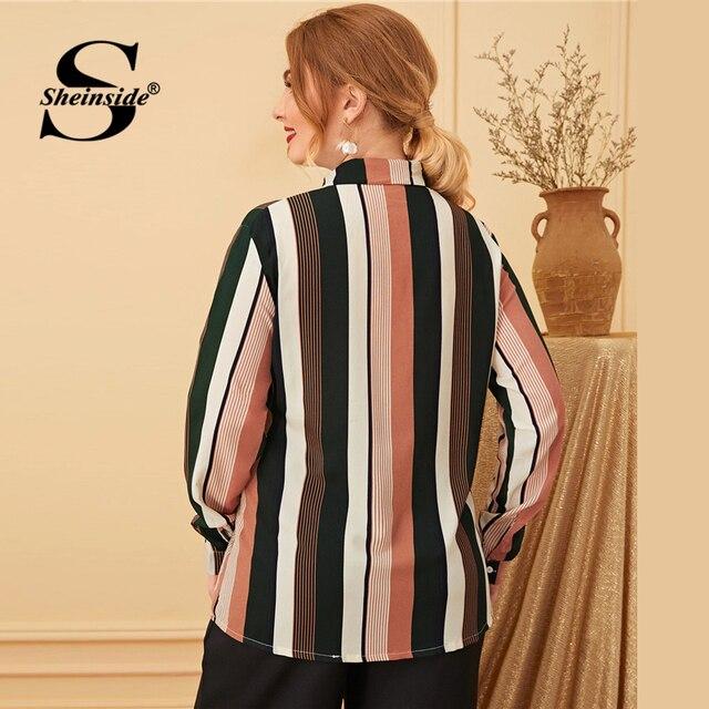 Sheinside Plus Size Elegant Stripe Print Blouse Women 2019 Autumn Bow Tie Neck Colorblock Blouses Ladies Casual Print Top 1