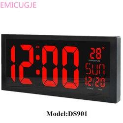 HD duży ekran LED zegar ścienny Home kalendarz biurkowy ClockDaylight oszczędność czasu funkcja LED zegar elektroniczny z termometrem