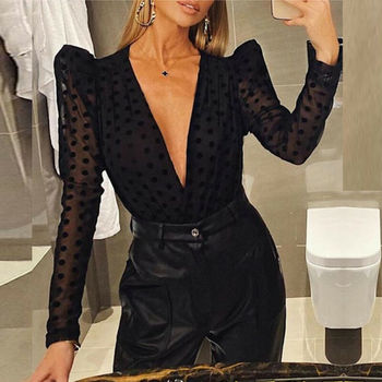 2020 Women Blouse Deep V-neck Shirt Mesh Sheer Polka Dot See-through Long Puff Sleeve Top Black Shirt Ladies Blouses Party Tops fleece dot applique semi sheer top