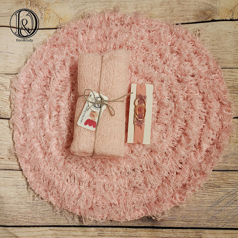 Don&Judy Blanket +Mohair Stretch Knit Wrap+Headband Newborn Baby Photo Prop Baby Blanket Photography Prop Basket Filler Stuffer