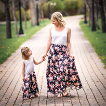 Mother Daughter Dresses Sleeveless Patchwork Striped Rose Long Dress Mom and Girl Clothes Family Look Matching Outfits family look clothes brand european black rose pleated a shape sleeveless skirts women midi sundress mother and daughter dresses