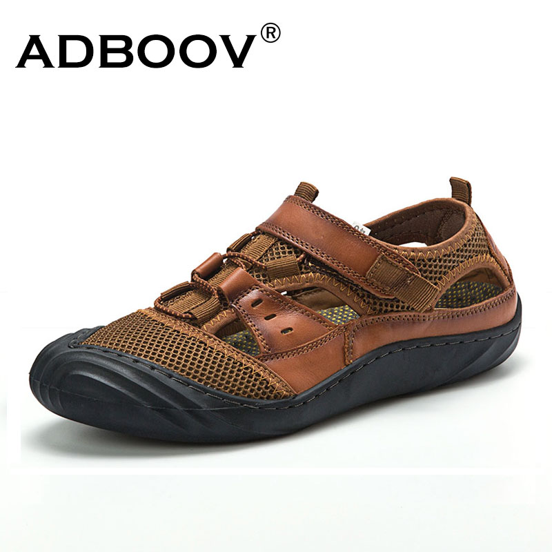 ADBOOV Summer Closed Toe Leather Sandals Men Outdoor Hiking Male Shoes Rubber Sole Breathable Mesh Mens Beach Sandals