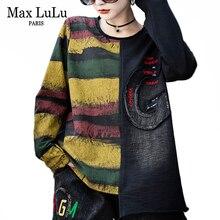 Max LuLu Fashion Korean Tops Tees Ladies Autumn Punk Streetwear Womens Patchwork Denim T Shirts Vintage Female Striped Clothes