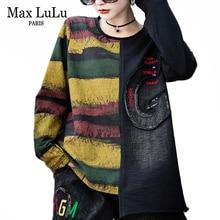 Max Lulu Mode Koreaanse Tops Tees Dames Herfst Punk Streetwear Womens Patchwork Denim T Shirts Vintage Vrouwelijke Gestreepte Kleding