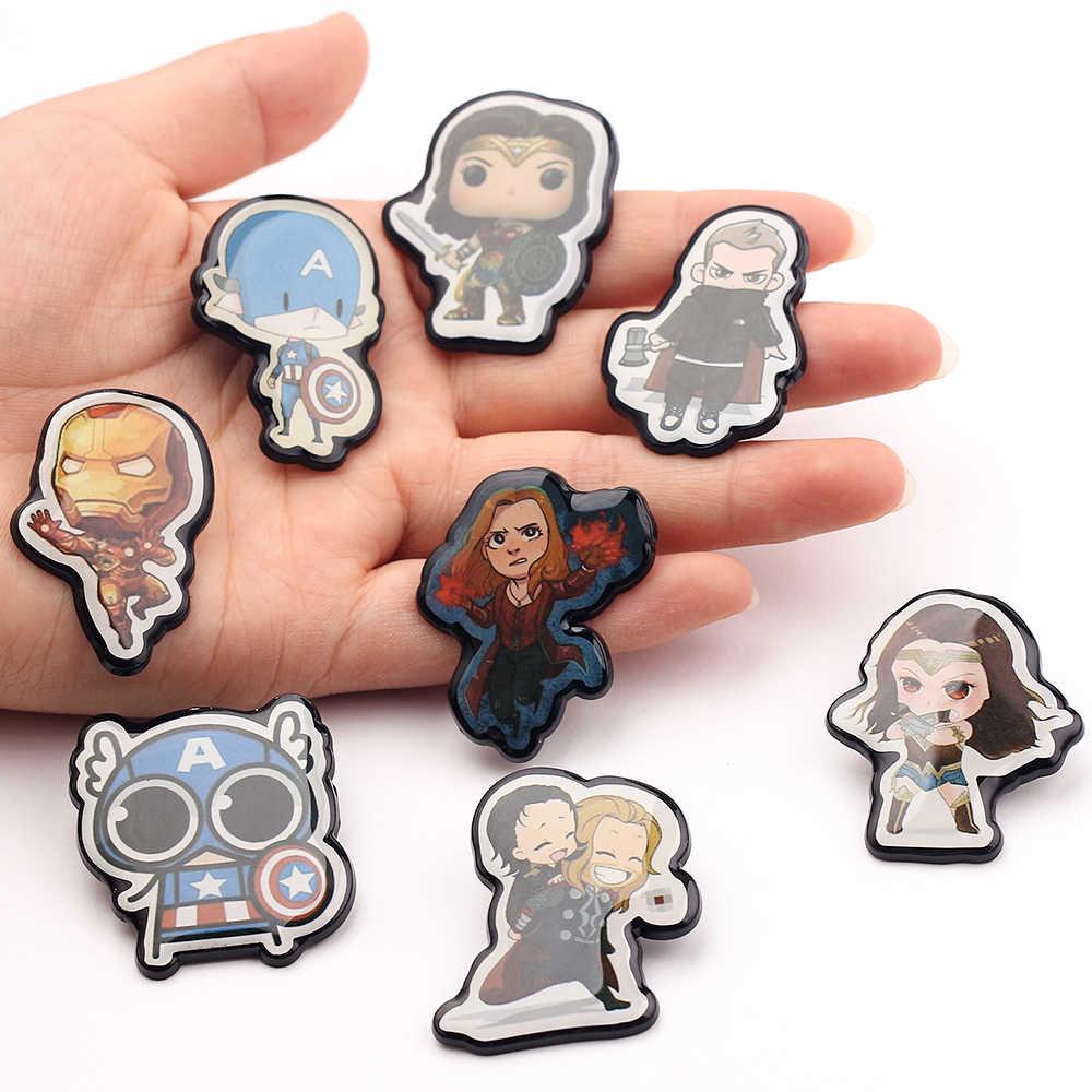 Marvel Avengers การ์ตูนน่ารัก Pins เข็มกลัดกัปตันอเมริกา Thor Rocky Iron Man Wonder ผู้หญิง Lapel Badge เข็มกลัดสำหรับเด็ก