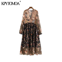 KPYTOMOA Women Chic Fashion Floral Print Chiffon Midi Dress Vintage V Neck See Through Sleeves Female Dresses Vestidos Mujer