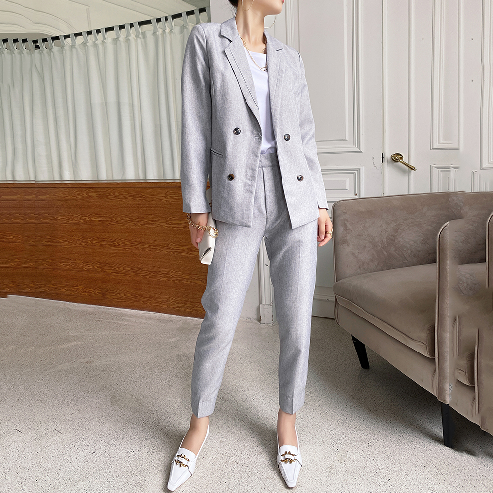 2 piece set women Suit blazers Vintage Gray  Business Office Lady High Waist  Slim Suit Pants Suits Female 2020 Autumn New
